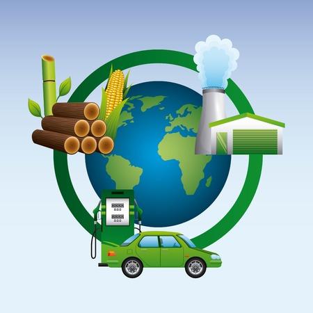 Wereldstation benzine suikerriet plant biobrandstof cyclus vectorillustratie Stock Illustratie