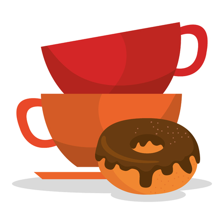 Coffee cup and donut image illustration