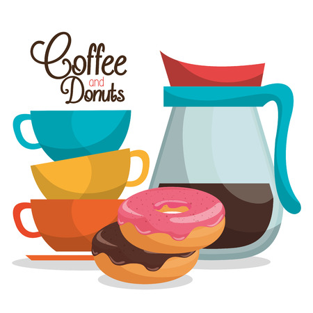 delicious coffee in teapot and donuts vector illustration design