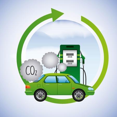 biobrandstof schoon station pomp gas auto uitstoot co2 vector illustratie