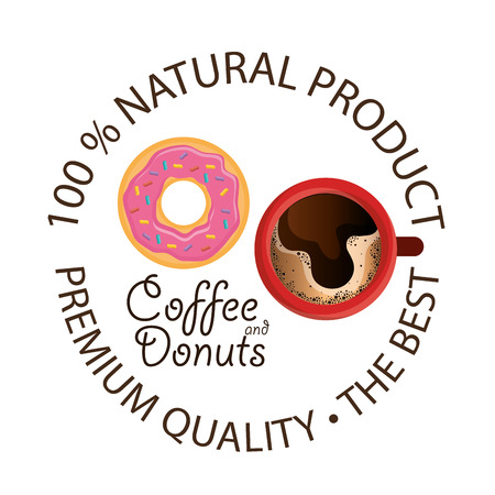 delicious coffee cup and donuts vector illustration design Standard-Bild - 96900611