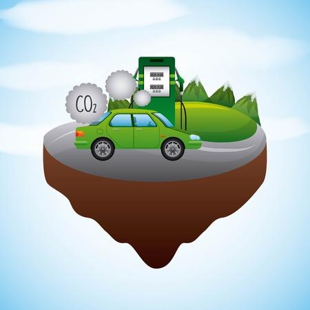 paysage, véhicule, station, essence, biocarburant, vecteur, illustration Vecteurs