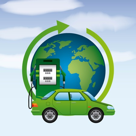 biofuel world earth station car gas clean ecology vector illustration