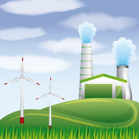 Biobrandstof plant geothermische turbines winden op landschap vector illustratie Stockfoto - 96900618
