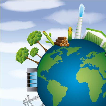 earth planet energy clean environment resources vector illustration Çizim