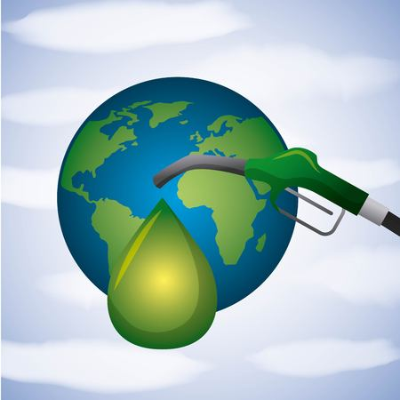 world planet and pump drop green biofuel vector illustration
