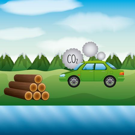 landscape mountains sugarcane and car co2 biofuel vector illustration