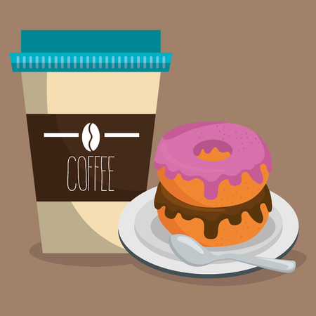delicious coffee plastic pot and donut vector illustration design Ilustração