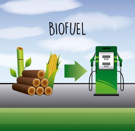 バイオ燃料サトウキビとトウモロコシエタノールポンプステーションベクトル図  イラスト・ベクター素材