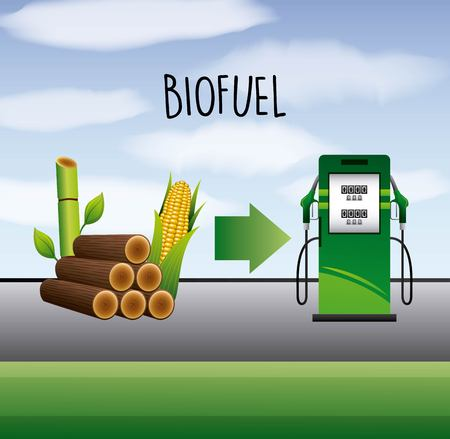 biofuel sugarcane and corn ethanol pump station vector illustration