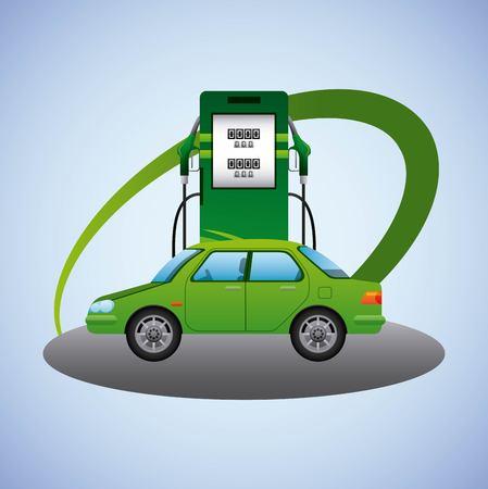 biofuel station pump car transport ecology vector illustration