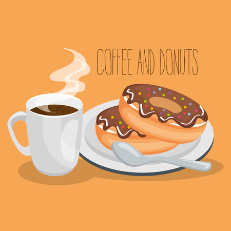 delicious coffee cup and donuts vector illustration design Stock Vector - 96908735