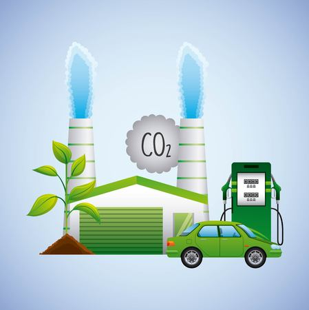 biofuel station pump car factory plant vegetation vector illustration Illustration