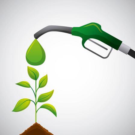 Biocombustible bomba verde planta completa creciendo eco ilustración vectorial Foto de archivo - 96908731