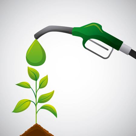 biofuel green pump full plant growing eco vector illustration