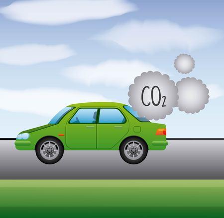 biobrandstof CO2 uitstoot auto groen gas vector illustratie Stock Illustratie