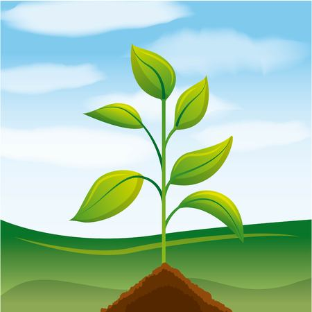 green plant ecology environment concept vector illustration
