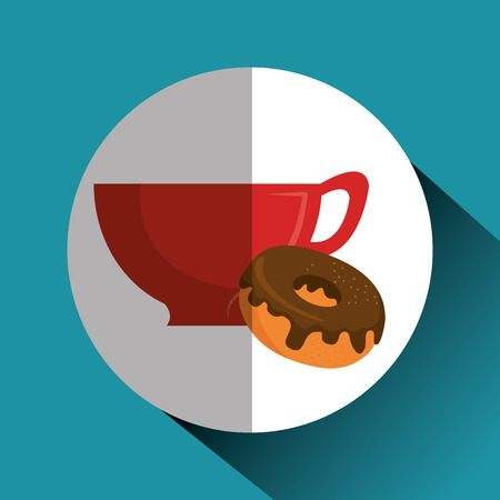 Heerlijk koffiekopje en donuts vector illustratie ontwerp Stockfoto - 96901014