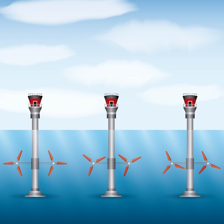 turbines wind seawater renewable energy types vector illustration Illusztráció