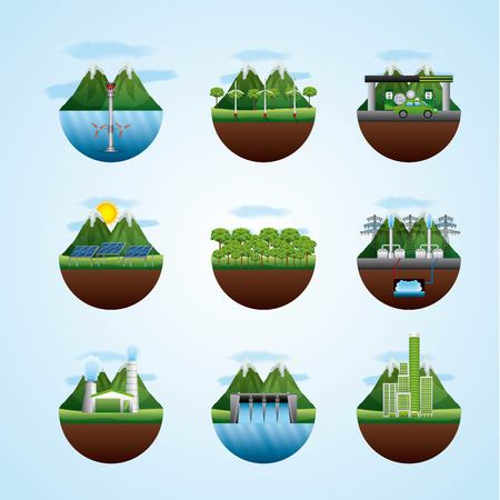 differents landscape with resources of energy types vector illustration