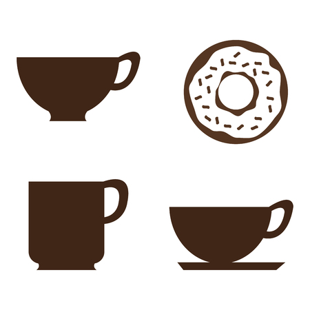coffee and donuts set icons vector illustration design Ilustração