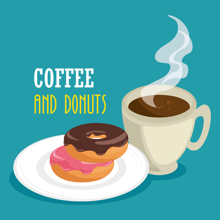 delicious coffee cup and donuts vector illustration design Banco de Imagens - 96901124