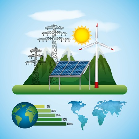 energy types   panel solar  turbine wind tower electrical global vector illustration