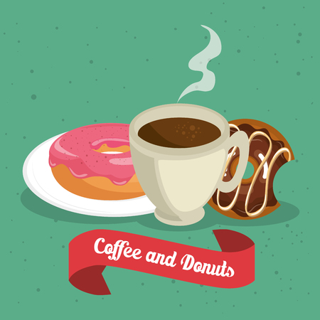 delicious coffee cup and donuts vector illustration design Standard-Bild - 96901127