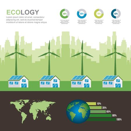 energy types - infographic village houses panel solar and turbines winds renewable world vector illustration