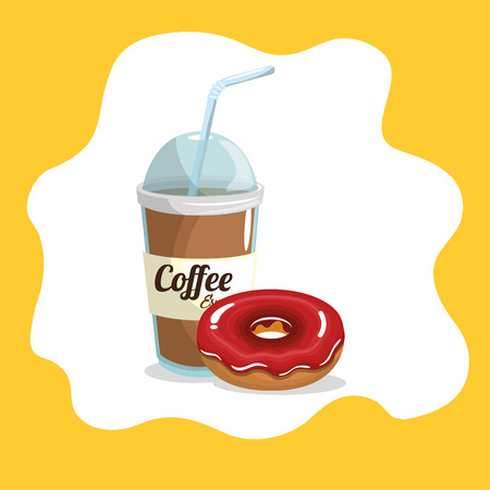 delicious coffee plastic pot and donut vector illustration design Stock Vector - 96901125
