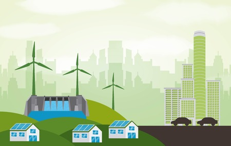 energy types - city electric clean houses panel solar hydro and turbines vector illustration