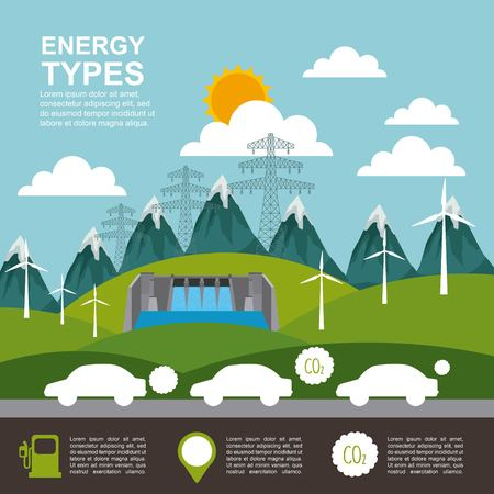 different types of electricity generation hydro dam turbines electricity transport landscape vector illustration