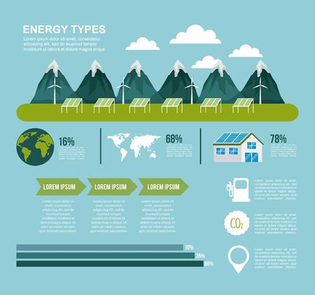 energy types infographics generation solar and wind power hydro renewable and electricity vector illustration