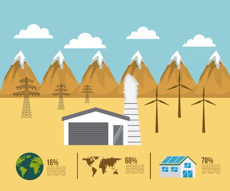 landscape desert with factory tower elecrticity turbines world energy types vector illustration