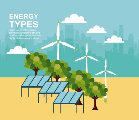 panel solar turbines wind forest trees energy types vector illustration