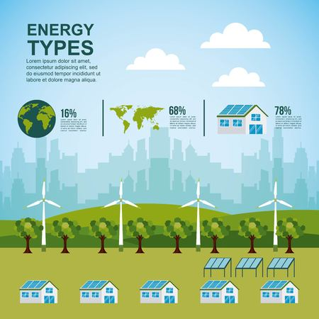 energy types - forest houses city turbines   panel solar  infographic vector illustration