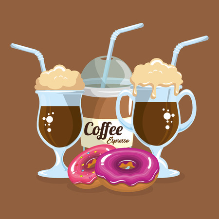 delicious iced coffee cup and donuts vector illustration design Illustration
