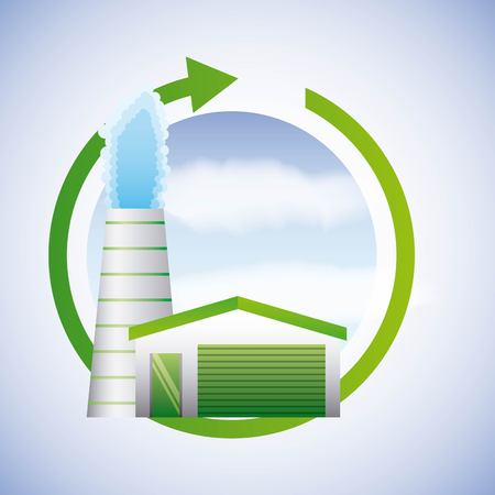 Geothermal plant image illustration Illustration