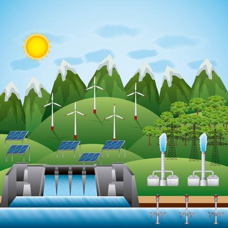 Turbine geothermal panel illustration