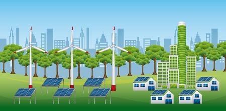Renewable sustainable energy source illustration