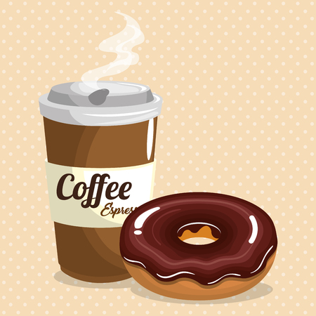 Coffee and donut image illustration