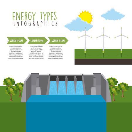 Energy hydro turbines image illustration Vettoriali