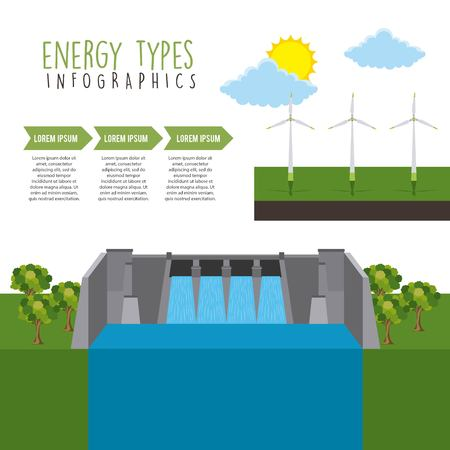 Energy hydro turbines image illustration Vectores