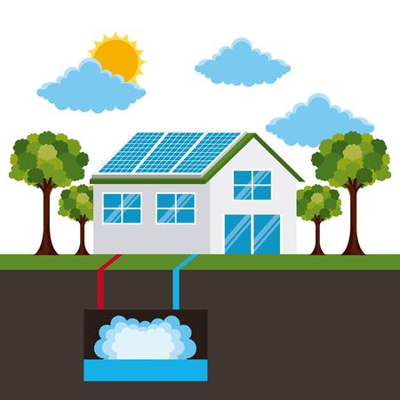 energy types - house   panel solar  and geothermal vector illustration