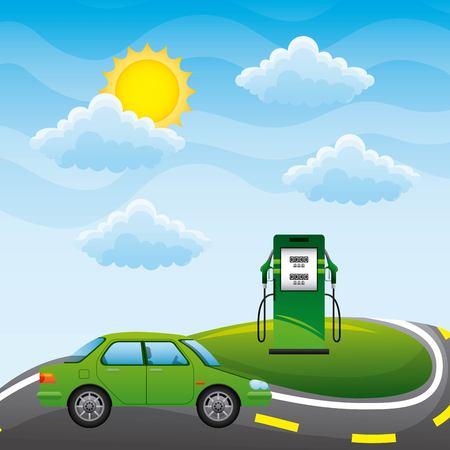 エネルギータイプ - 道路上の緑の車とステーションポンプバイオ燃料ベクトル図
