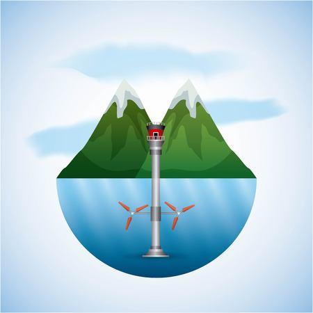 エネルギータイプ - 風景自然と海水タービン風ベクトル図  イラスト・ベクター素材