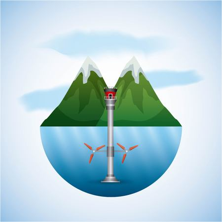 energy types - landscape natural and seawater turbines wind vector illustration