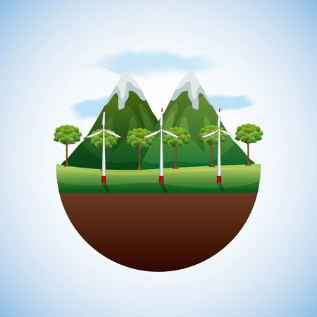 energy types - landscape natural forest and turbines winds vector illustration Illustration