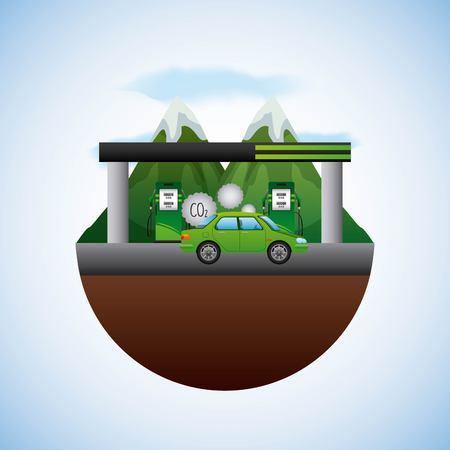 energy types - landscape natural and station gas car vector illustration Ilustração