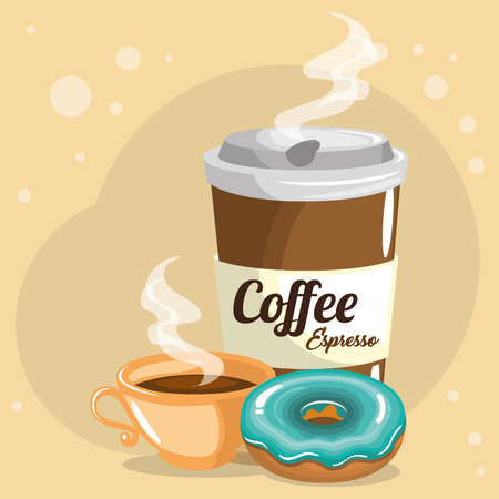 delicious coffee plastic pot and donut vector illustration design Stock Illustratie